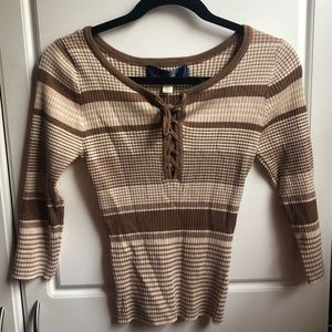 striped brown knit top